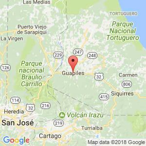 Localización de Guápiles en Limón