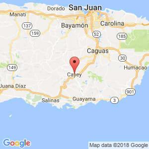 Localización de Cayey en Guayama