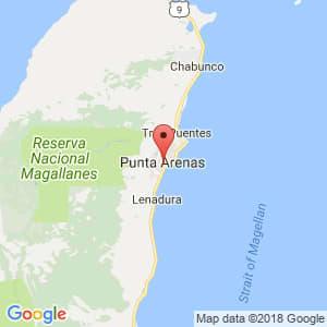 Localización de Punta Arenas en Magallanes y de la Antártica Chilena