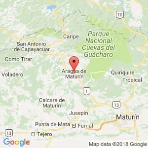 Localización de Aragua de Maturín en Monagas