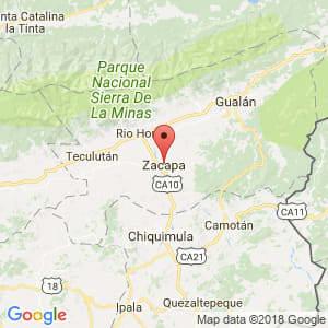 Localización de Zacapa en Zacapa