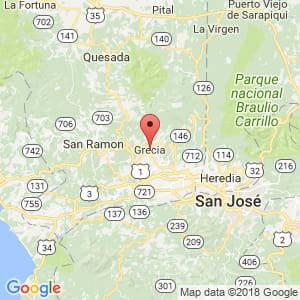 Localización de Grecia en Alajuela
