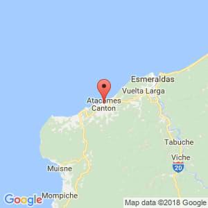 Localización de Atacames en Esmeraldas