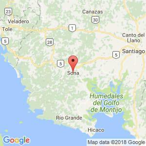 Localización de Soná en Veraguas