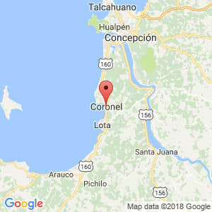 Localización de Coronel en Biobío