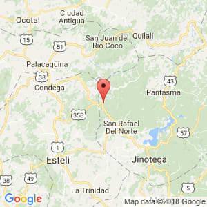 Localización de San Sebastián de Yalí en Jinotega