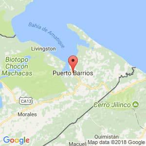 Localización de Puerto Barrios en Izabal