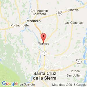 Localización de Warnes en Santa Cruz