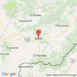 Localización de Danlí en El Paraíso