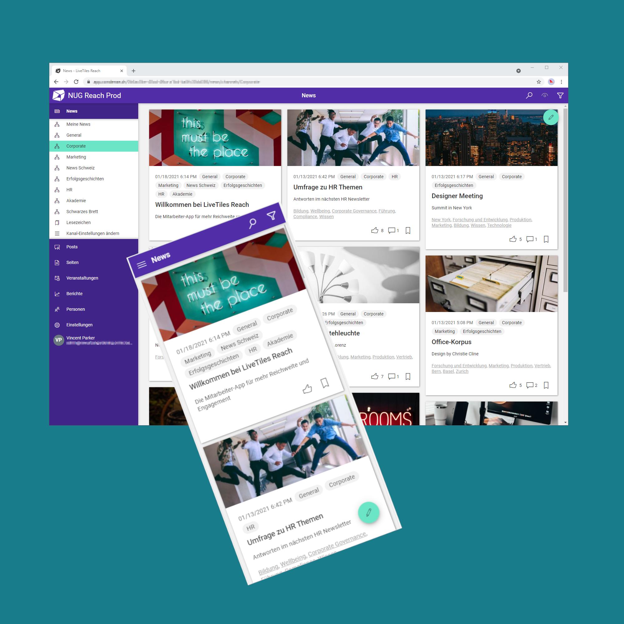 Nexplore Mitarbeiter App LiveTiles Reach Mobile Desktop