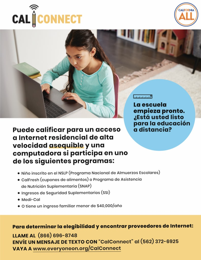 Young girl on Computer_Flyer_Spanish