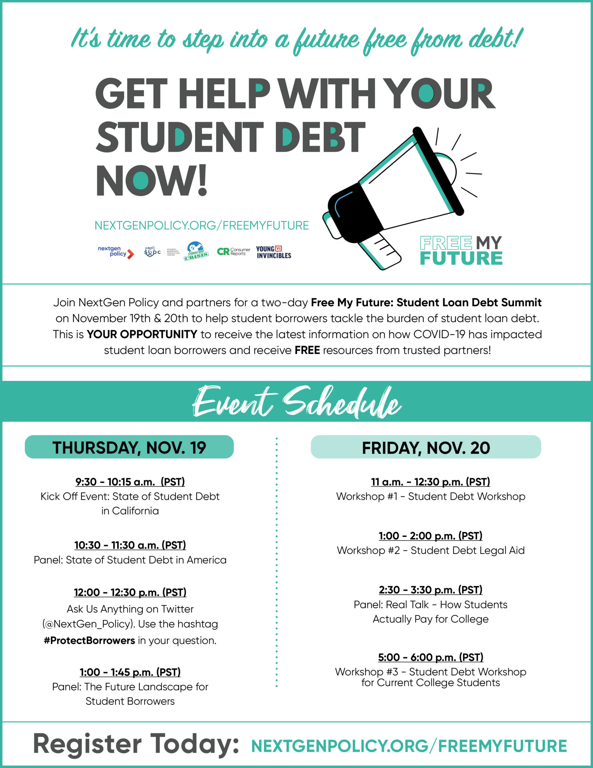 Free My Future:Student Loan Debt Summit Schedule of Events