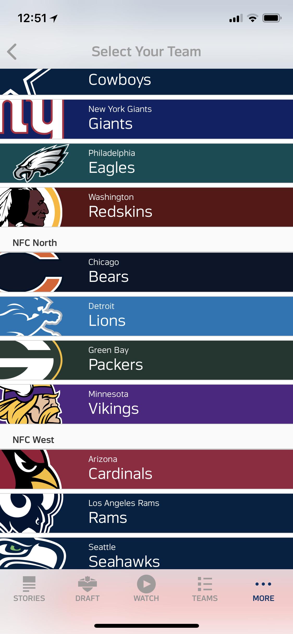 Select the Philadelphia Eagles