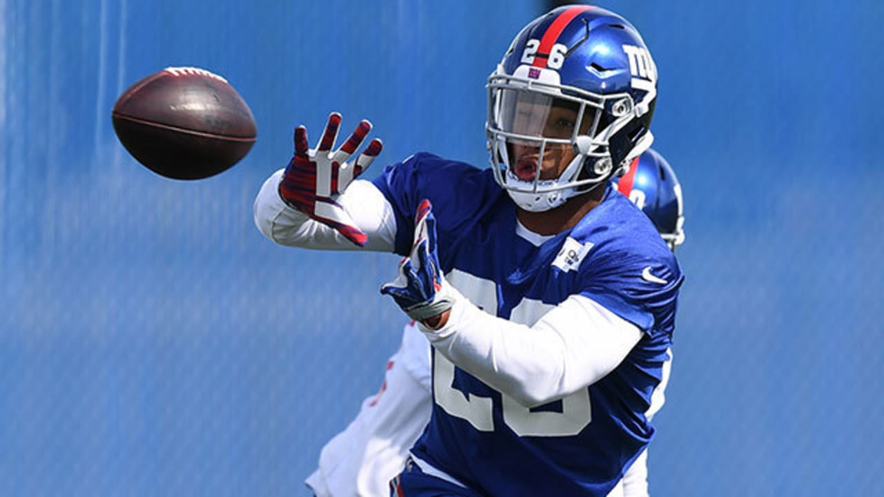 60de87449e9 Highlights from rookie running back Saquon Barkley s first day at New York  Giants rookie minicamp