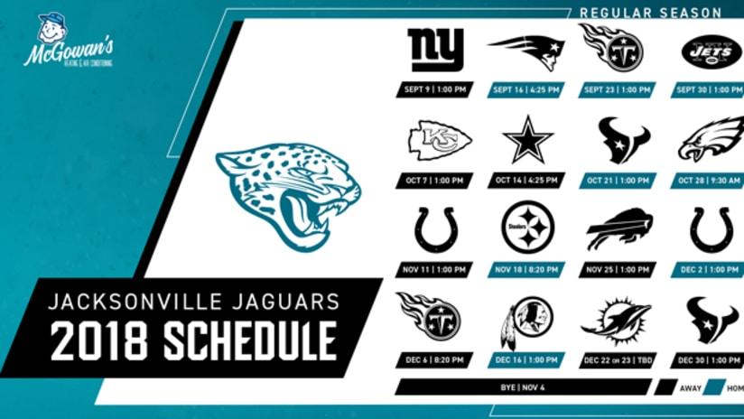 Delightful Jacksonville Jaguars Announce 2018 Schedule. 20180419 Schedule