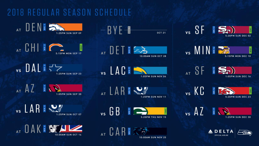 Seattle Seahawks 2018 Schedule Announced, Includes Five Prime Time