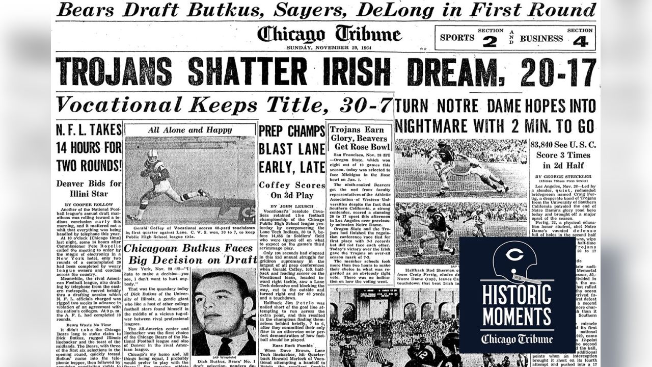 The front page of the Chicago Tribune. Bears Historic Moments - Chicago Tribune