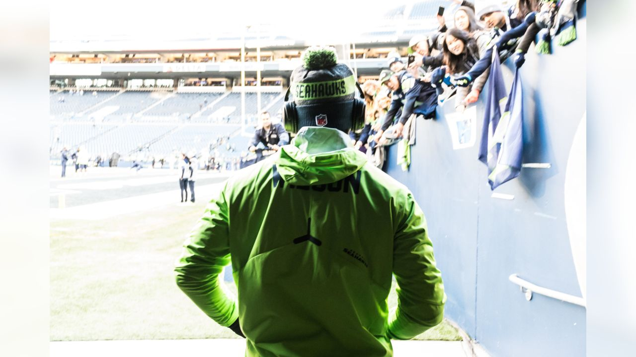Seahawks quarterback Russell Wilson emerges from the tunnel for his early pregame warmups two hours before kickoff.