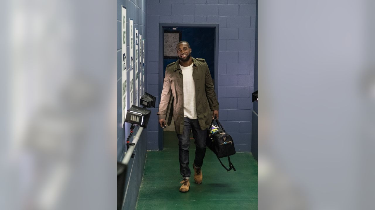 Kam Chancellor arrives at CenturyLink Field for the Week 16 contest against the visiting Arizona Cardinals.