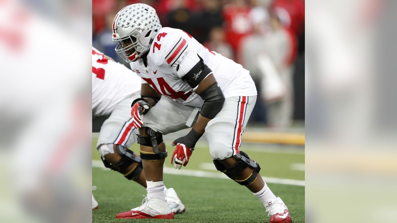 Ohio State offensive lineman Jamarco Jones (74) gets set for a play during the first half of an NCAA college football game against Iowa, Saturday, Nov. 4, 2017, in Iowa City, Iowa. (AP Photo/Charlie Neibergall)