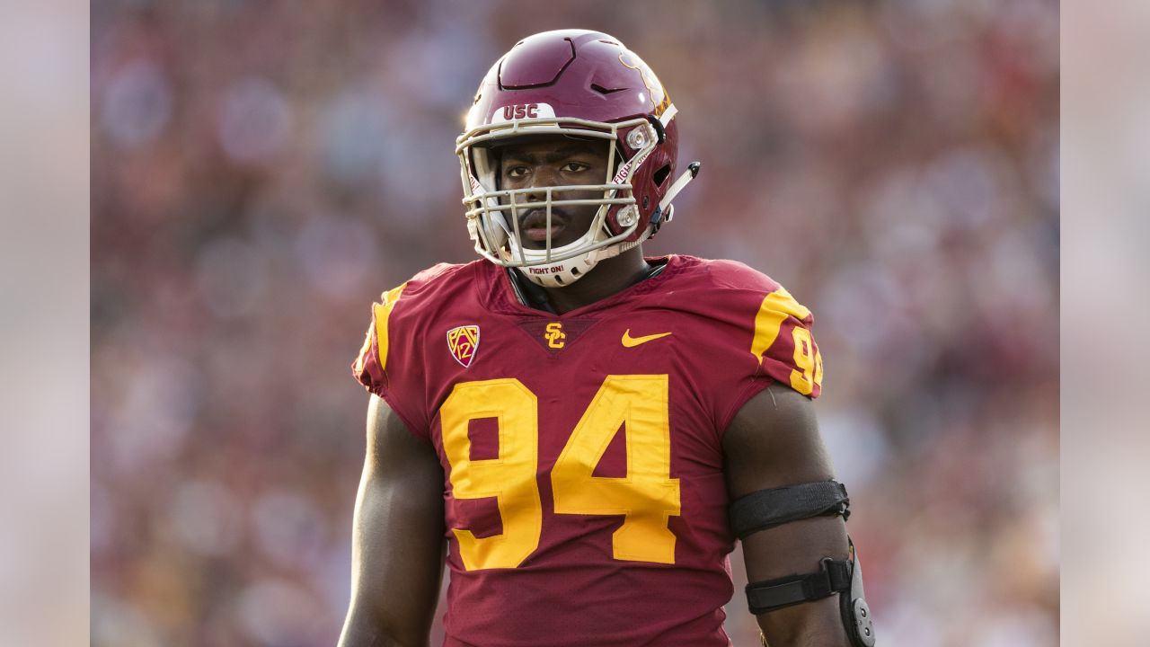 USC Trojans defensive tackle Rasheem Green (94) during an NCAA regular season football game against the Texas Longhorns on Saturday, Sept. 16, 2017 in Los Angeles. USC won in double overtime, 27-24. (Ric Tapia via AP)