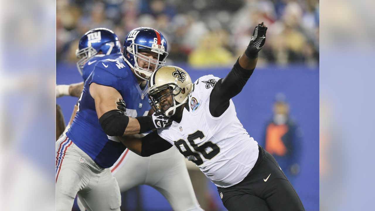 New Orleans Saints defensive tackle Tom Johnson (96) in action against the New York Giants at MetLife Stadium in East Rutherford, NJ, December 9, 2012. New York defeated New Orleans 52-27.  (AP Photo/Damian Strohmeyer)