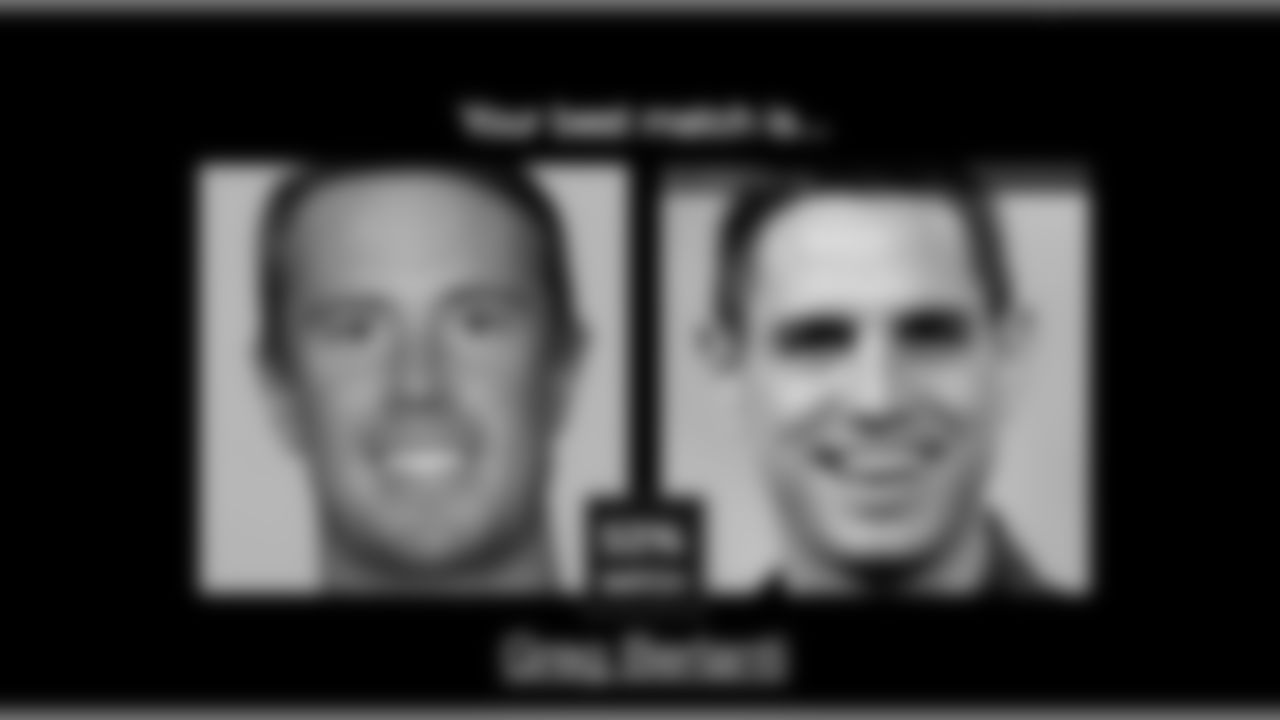 Using CelebsLike.Me, we took some Falcons headshots and generated their dopplegangers (or so they say) with the site's software. Let's start with the QB, Matt Ryan. CelebsLike.Me matched him up Greg Berlanti at an unimpressive 53%. Berlanti is best known for his role on Dawson's Creek and more recently as a television writer and producer. We're off to a rough start.