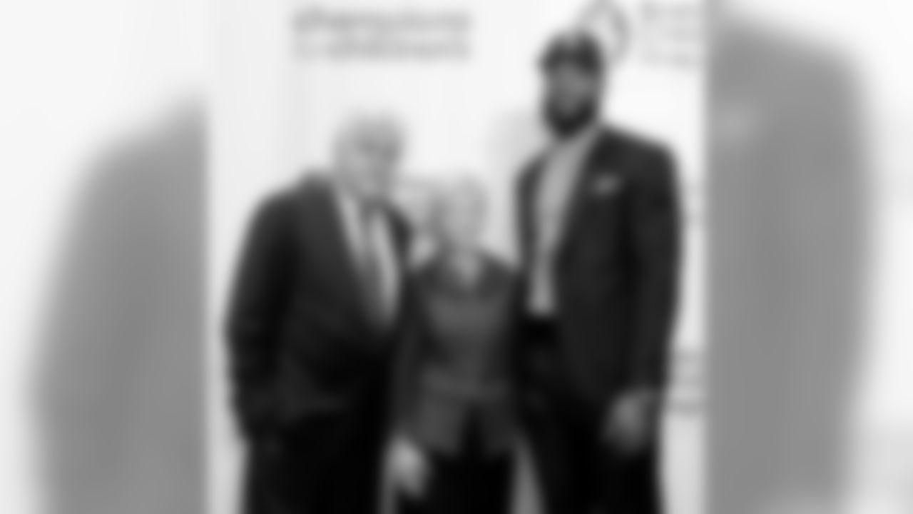 BOSTON, MA - NOVEMBER 29: New England Patriots Martellus Bennett, Sandra Fenwick, President and CEO Boston Children's Hospital, and Jay Leno attend Champions for Children's at Seaport World Trade Center on November 29, 2016 in Boston, Massachusetts. (Photo by Darren McCollester/Getty Images for Boston's Children Hospital)