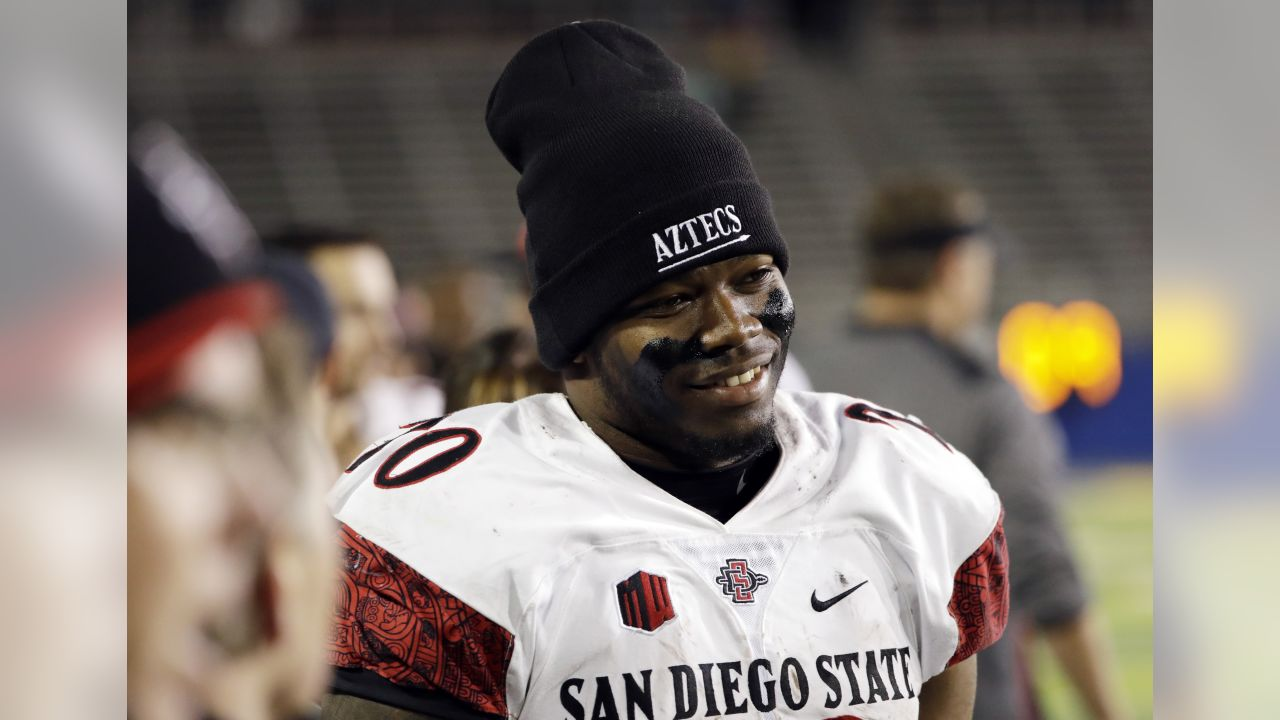 San Diego State running back Rashaad Penny watches from the sideline during the second half of an NCAA college football game against San Jose State Saturday, Nov. 4, 2017, in San Jose, Calif. (AP Photo/Marcio Jose Sanchez)