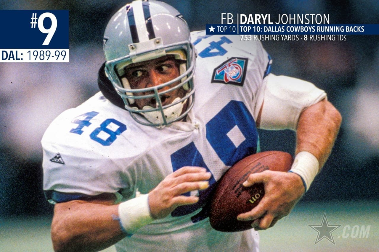 Daryl Johnston did all the dirty work at fullback, leading the way for Emmitt Smith to become the NFL's all-time leading rusher. If you don't believe he belongs in the Top 10, just ask Emmitt.