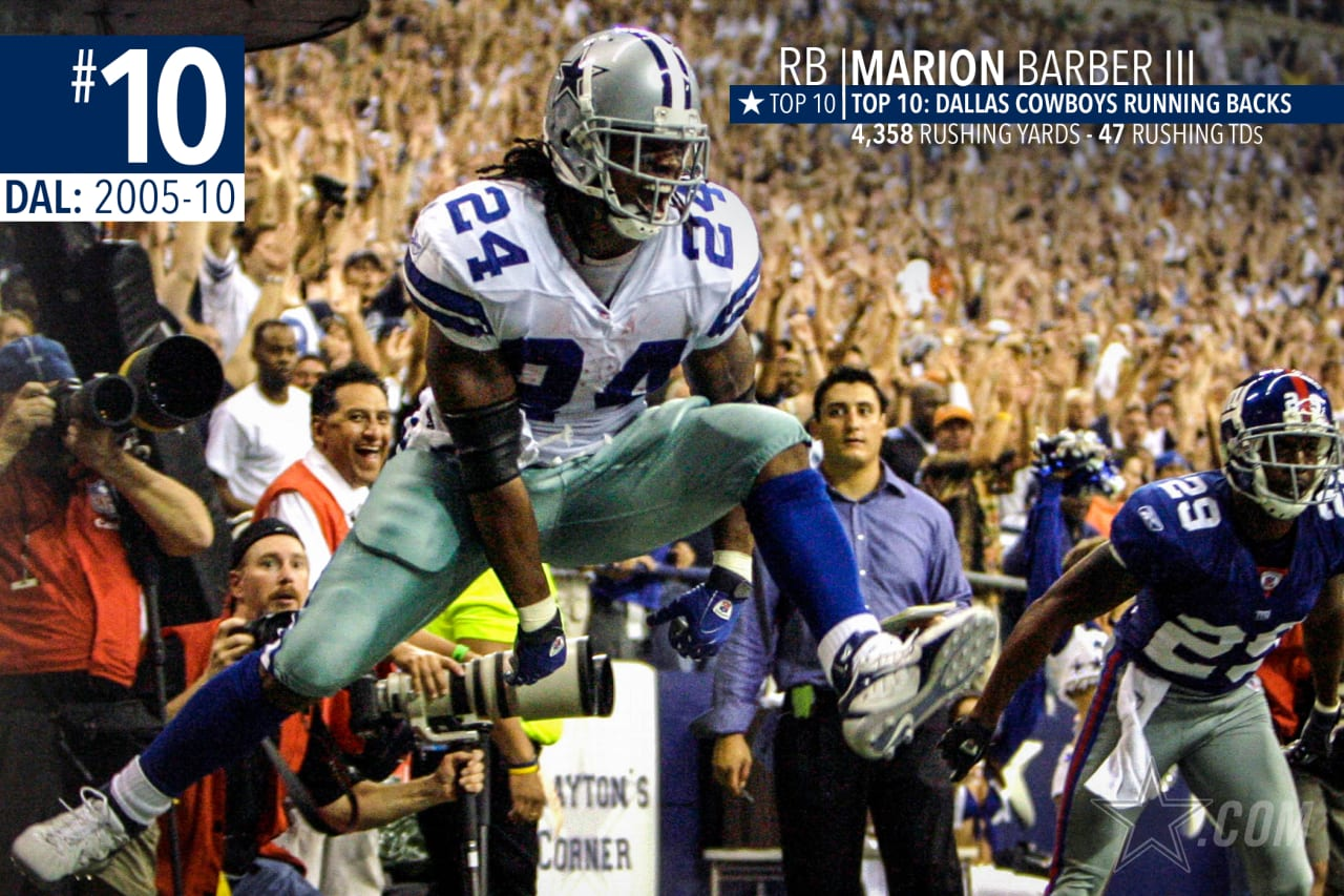 Marion Barber was the workhorse in the Cowboys offense during their run to three playoff appearances in four seasons from 2006 through 2009, along with scoring 47 career touchdowns during his six seasons, third all-time for the Cowboys.