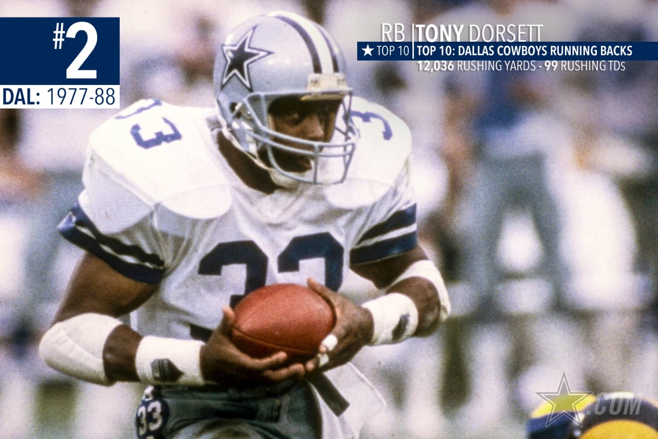 Tony Dorsett is the NFL's ninth all-time leading rusher with 12,036 and is second all-time in franchise history behind only Emmitt. Say no more again.