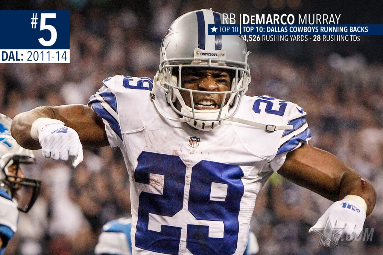 DeMarco Murray set the franchise single-season rushing record in 2014 with 1,845 yards, helping lead that team to a 12-4 record and last playoff victory.