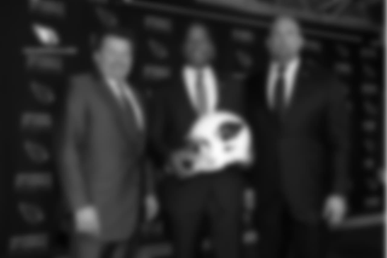 From left: team president Michael Bidwill, coach Steve Wilks and GM Steve Keim