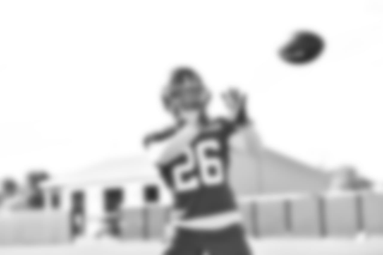 RB SAQUON BARKLEY  While he won't be breaking any tackles just yet because contact is not permitted during OTAs, Barkley's athleticism is on display every time he touches the field. He will also have a chance to work on his routes with Eli Manning as he figures to be a weapon in the passing game.