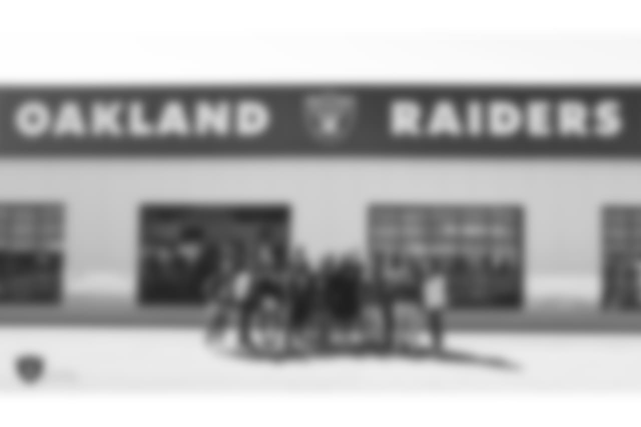 Oakland Raiders running back Jalen Richard gives 20 kids from Youth Alive, an after school program whose mission is to prevent violence and create young leaders, a tour of the Oakland Raiders Practice facility as well as conduct a question and answer session with the group, Monday, June 4, 2018, in Alameda, California.