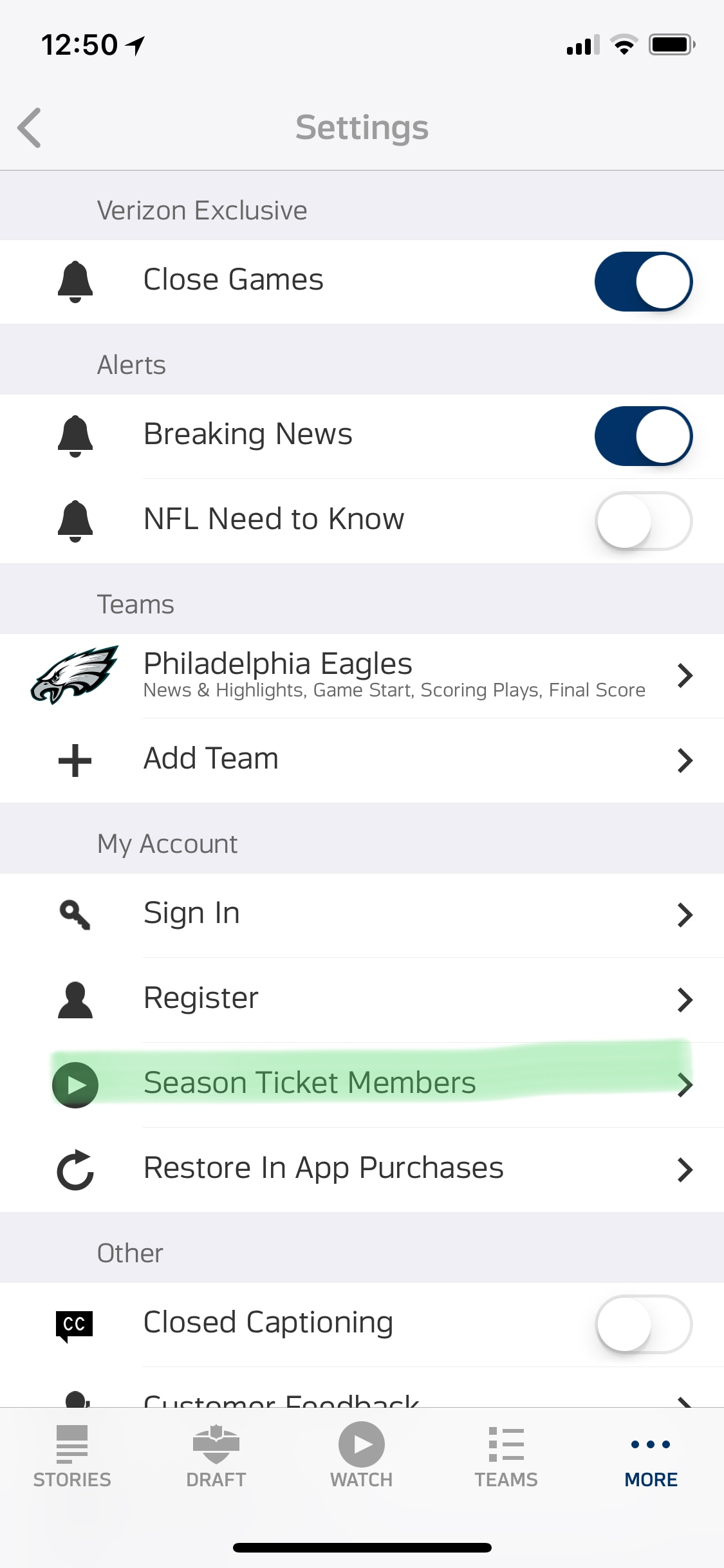 Sign into Season Ticket Members Account