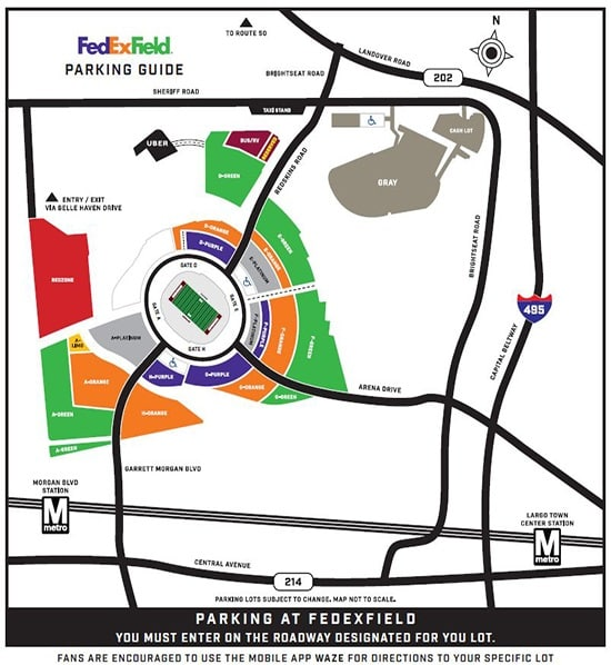 Fedex Field Parking Map FedExField Parking and Directions | Washington Redskins   Redskins.com