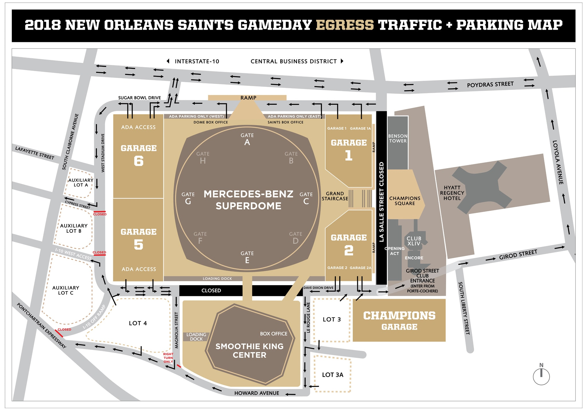 New Orleans Saints Gameday Egress Traffic & Parking Map