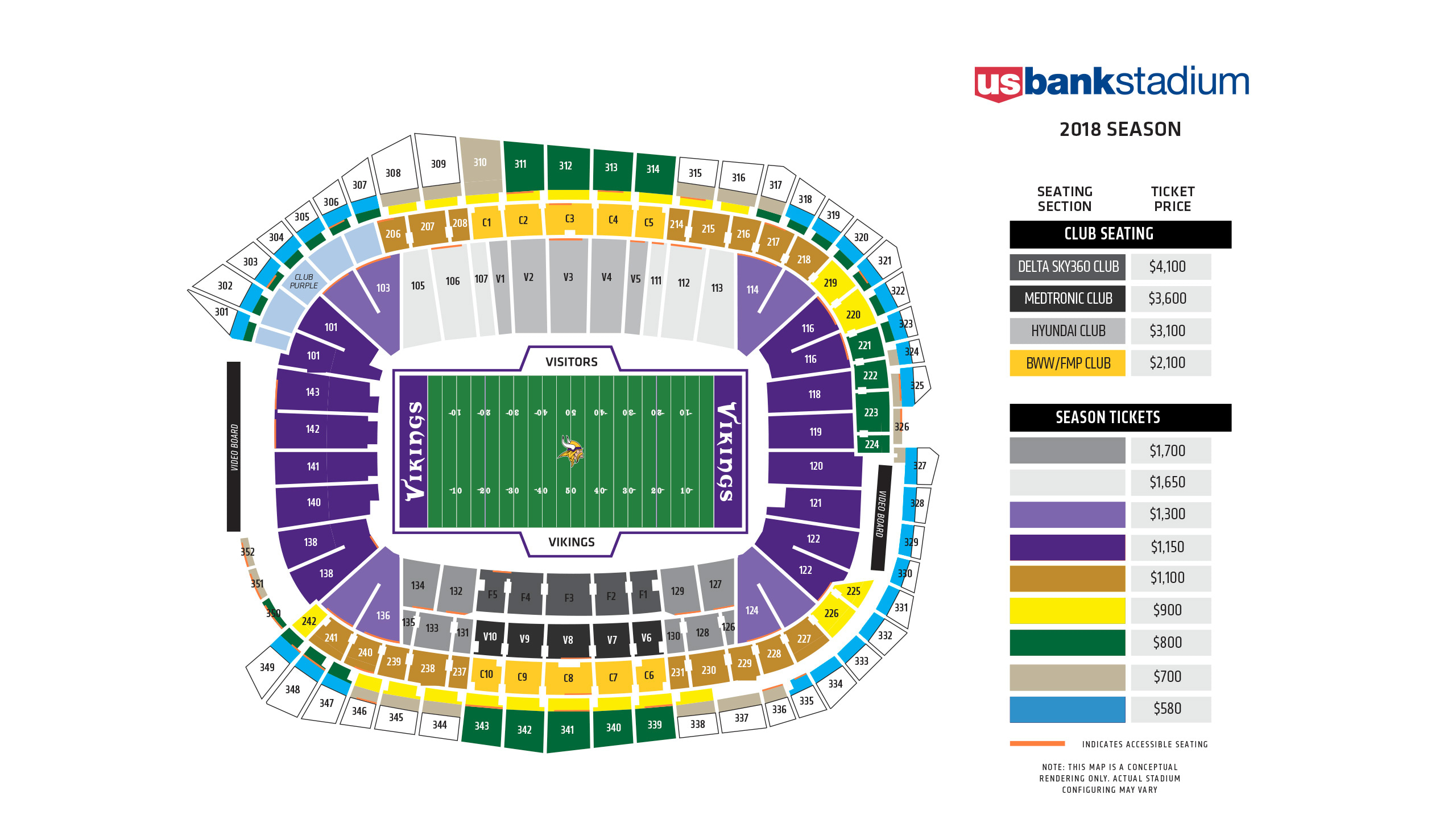 Vikings seating chart at u s bank stadium minnesota vikings