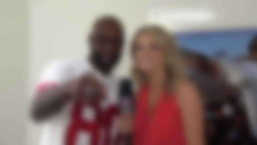 Former San Francisco 49ers wide receiver Jerry Rice breaks down his flashy custom 'GOAT' jersey ahead of SB LIV