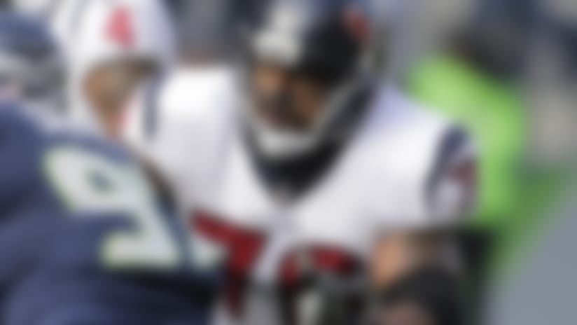 Houston Texans offensive tackle Duane Brown blocks during the first half against the Seattle Seahawks.