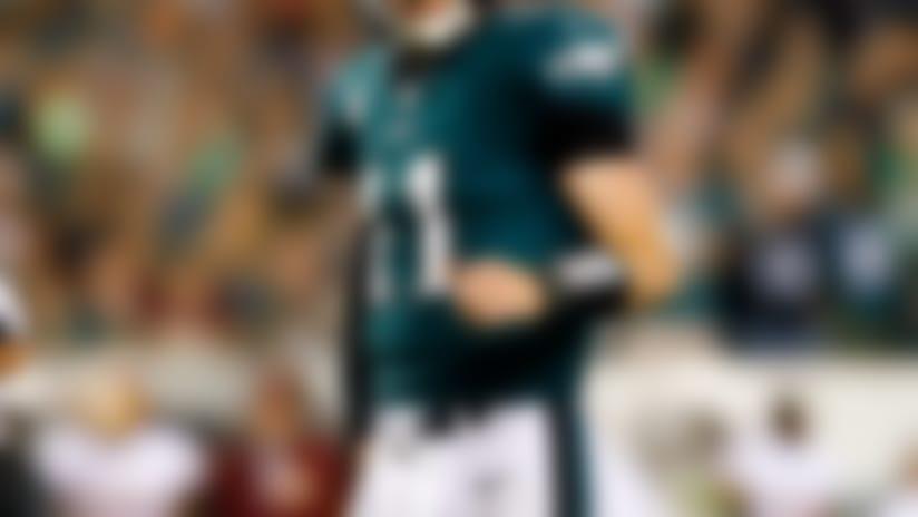 Philadelphia Eagles quarterback Carson Wentz (11) looks on during a week 7 NFL football against the Washington Redskins on Monday, Oct. 23, 2017 in Philadelphia. Philadelphia won 34-24. (Aaron M. Sprecher via AP)