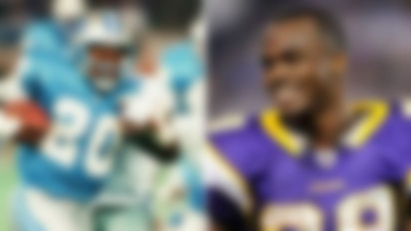 Barry Sanders vs. Adrian Peterson for 'Madden' cover