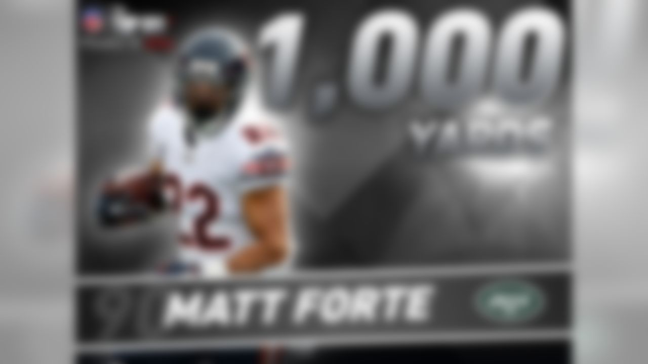 Matt Forte is entering his ninth NFL season. How productive has he been thus far? Forte is one of five players in NFL history with 1,200-plus scrimmage yards in each of his first eight seasons. The others: Curtis Martin (Hall of Famer), Barry Sanders (HOF), LaDainian Tomlinson and Ricky Watters.
