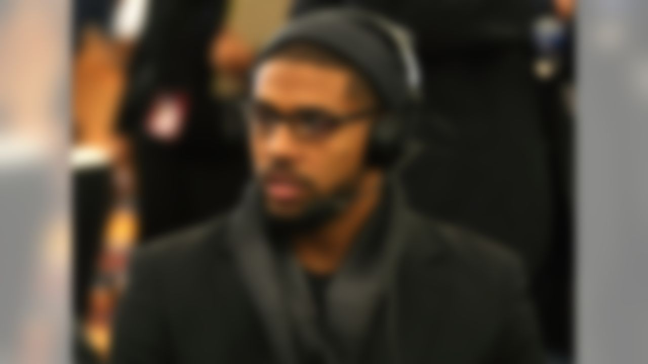 Houston Texans running back Arian Foster is interviewed at the Super Bowl XLVI media center in Indianapolis, IN on Feb. 2, 2012. (Perry Knotts/NFL)