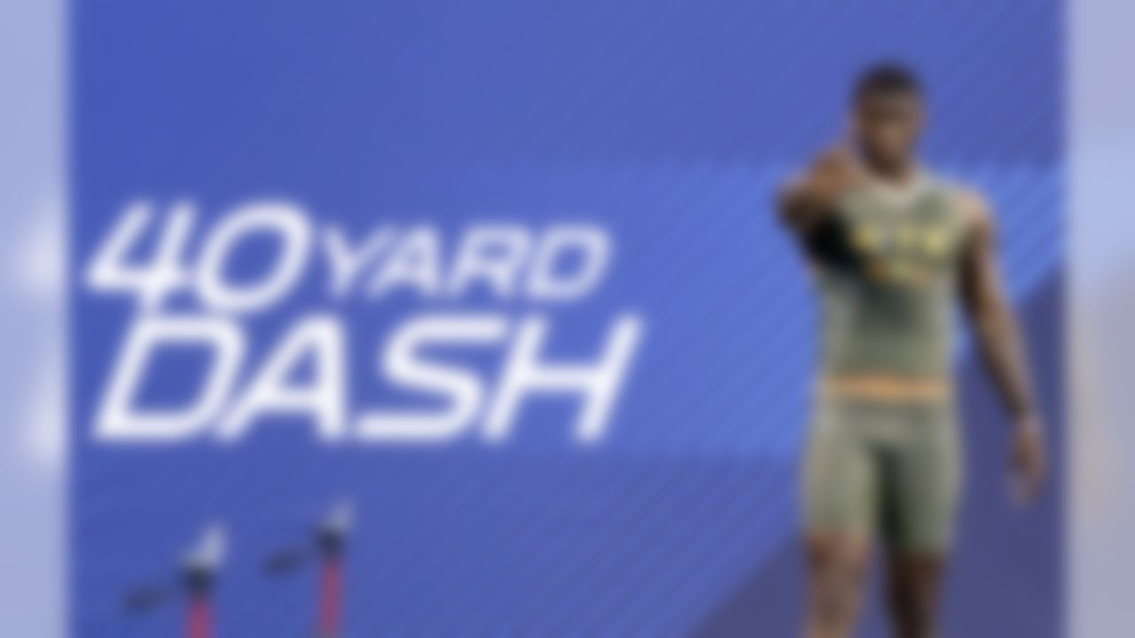 Utah tight end Anthony Denham waits before running the 40-yard dash at the NFL Scouting Combine. (AP Photo/Nam Y. Huh)