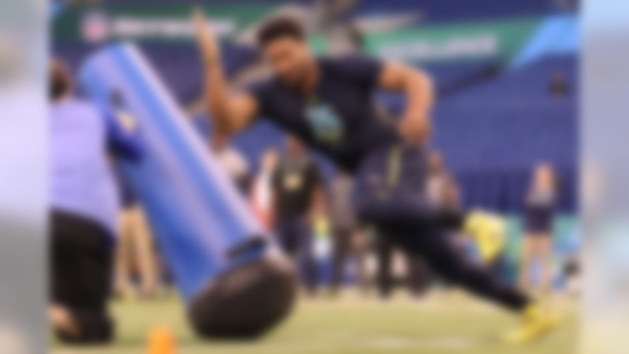 Texas A&M defensive end Myles Garrett runs a drill during the 2017 NFL Scouting Combine at Lucas Oil Stadium on Sunday, March 5, 2017 in Indianapolis. (Todd Rosenberg/NFL)