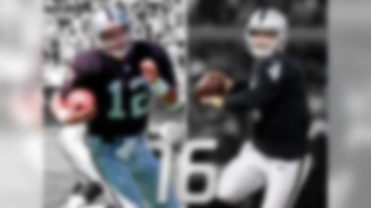 Raiders QB Rich Gannon threw for a franchise record 4,689 yards in 2002, leading the Raiders to an appearance in Super Bowl XXXVII and earning NFL MVP honors. Since then, the quarterback play in Oakland has been among the league's worst. The Raiders have started 18 different QBs in the last 12 seasons, second-most in the NFL (Browns, 19). In 2014, Derek Carr became the first QB to start all 16 games for the Raiders since Rich Gannon in 2002.