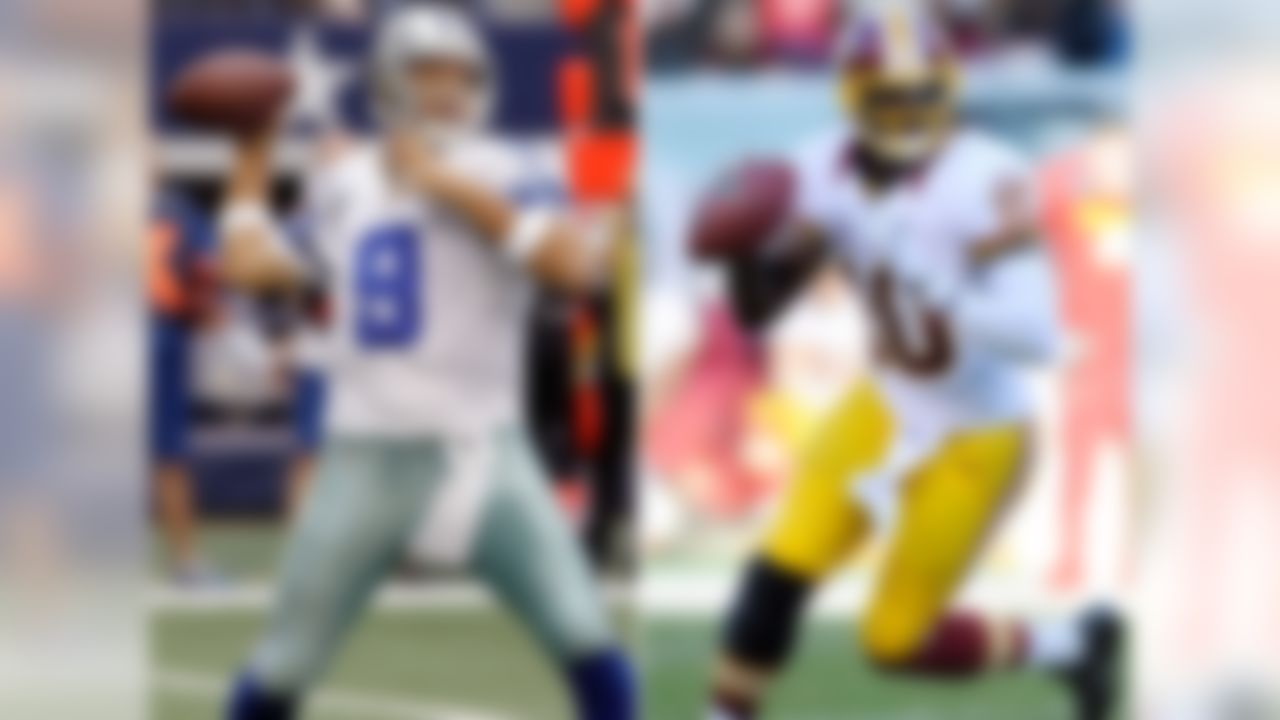 The Dallas Cowboys visit the Washington Redskins on Sunday night with the NFC East title at stake. Cowboys QB Tony Romo and Redskins QB Robert Griffin III are two of the NFL's three highest-rated passers since Week 9. Only the Seattle Seahawks' Russell Wilson has been better in that span.
